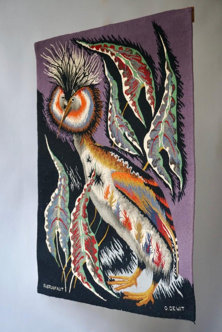 Hollywood Regency Spectacular Tapestry of a Crowned Bird Signed Edmond Dubrunfaut, Belgium, 1950 For Sale