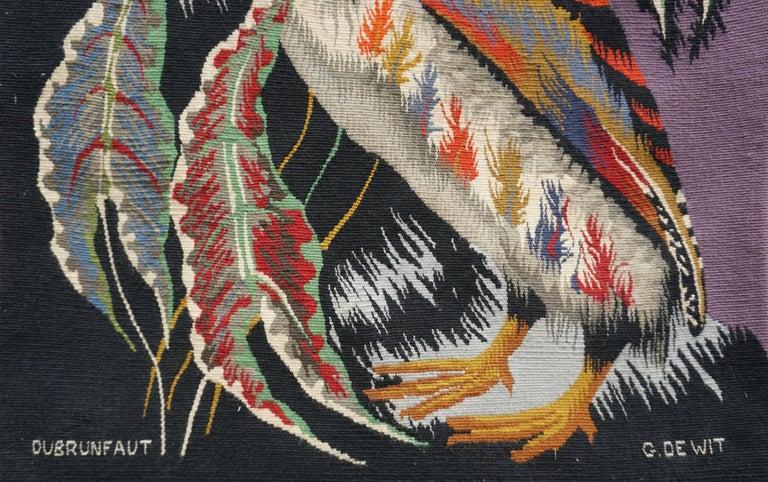Belgian Spectacular Tapestry of a Crowned Bird Signed Edmond Dubrunfaut, Belgium, 1950 For Sale