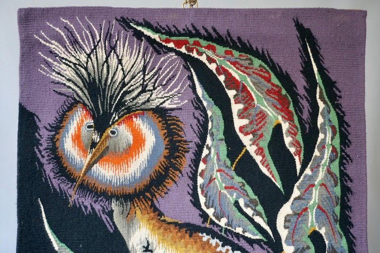 Hand-Woven Spectacular Tapestry of a Crowned Bird Signed Edmond Dubrunfaut, Belgium, 1950 For Sale