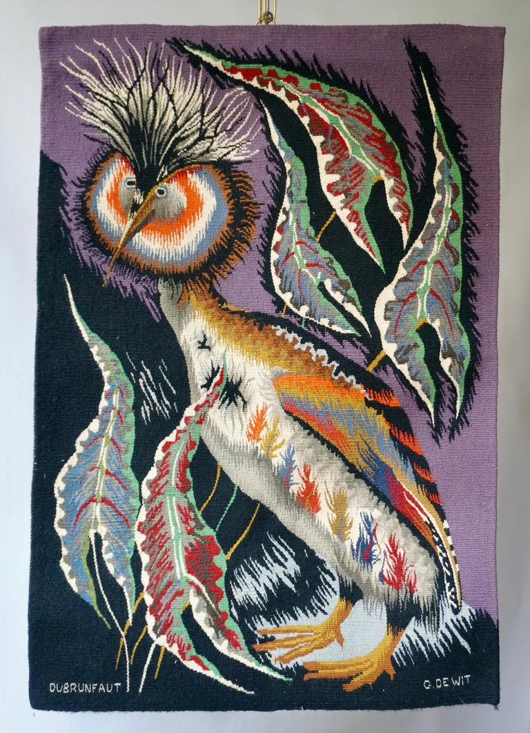 Spectacular Tapestry of a Crowned Bird Signed Edmond Dubrunfaut, Belgium, 1950 In Good Condition For Sale In Antwerp, BE