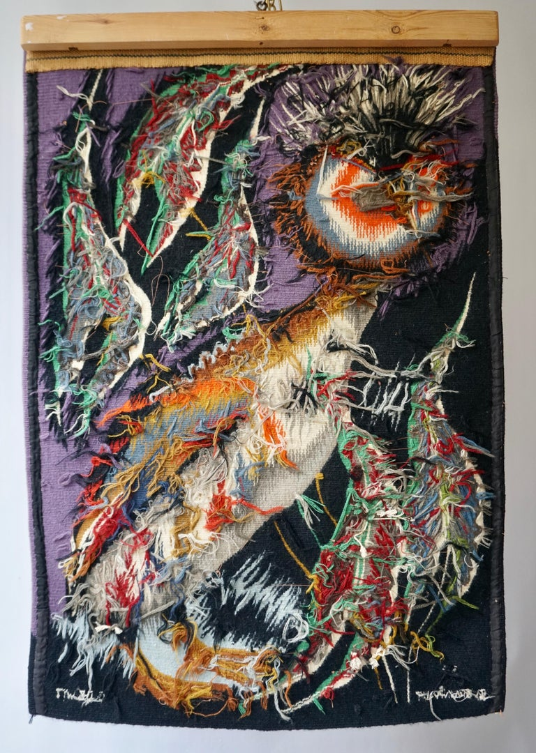 20th Century Spectacular Tapestry of a Crowned Bird Signed Edmond Dubrunfaut, Belgium, 1950 For Sale
