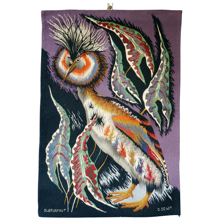Spectacular Tapestry of a Crowned Bird Signed Edmond Dubrunfaut, Belgium, 1950 For Sale