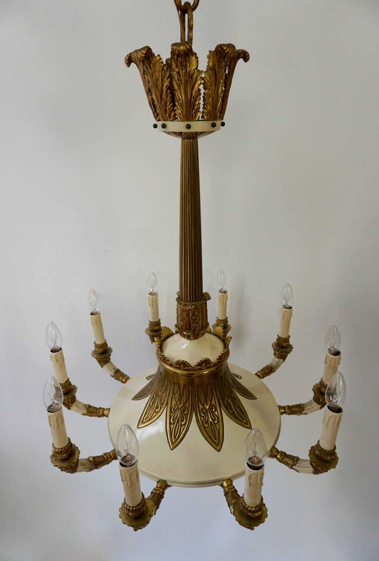 Hollywood Regency Spectacular Ten Arms Brass White Painted Chandelier with Men's Head For Sale