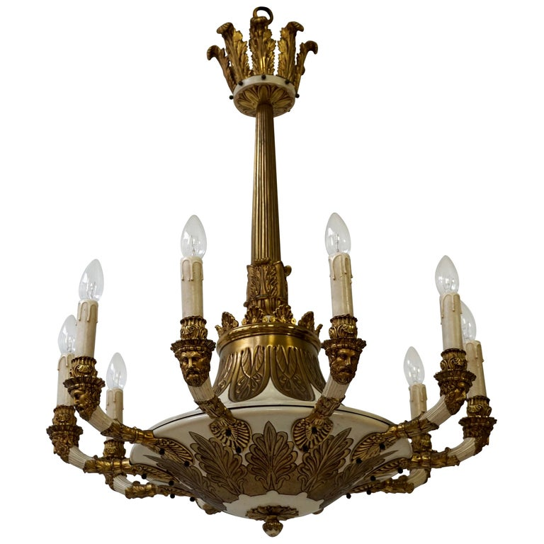 Spectacular Ten Arms Brass White Painted Chandelier with Men's Head For Sale