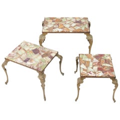 Spectacular Three-Piece Set of French Stone Inlay Nesting Tables
