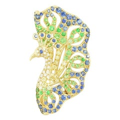 Spectacular Tsavorite Blue Sapphire Diamond 18 Karat Yellow Gold Brooch