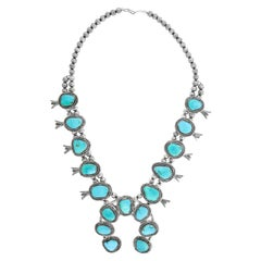 Spectacular Turquoise-Set Navajo Squash Blossom Necklace
