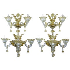 Spectacular Venetian Italian Gold Infused Murano Glass Sconces, 3 Pair Available