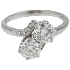 Spectacular Vintage 1.55 Carat Two-Stone G VVS Diamond Engagement Twisted Ring