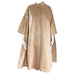 Spectacular Vintage 1950s Gold and Ivory Silk Brocade Opera Trapeze Jacket Coat