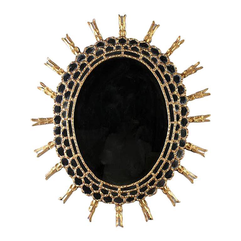 Spectacular Vintage Giltwood Oval Sunburst Mirror