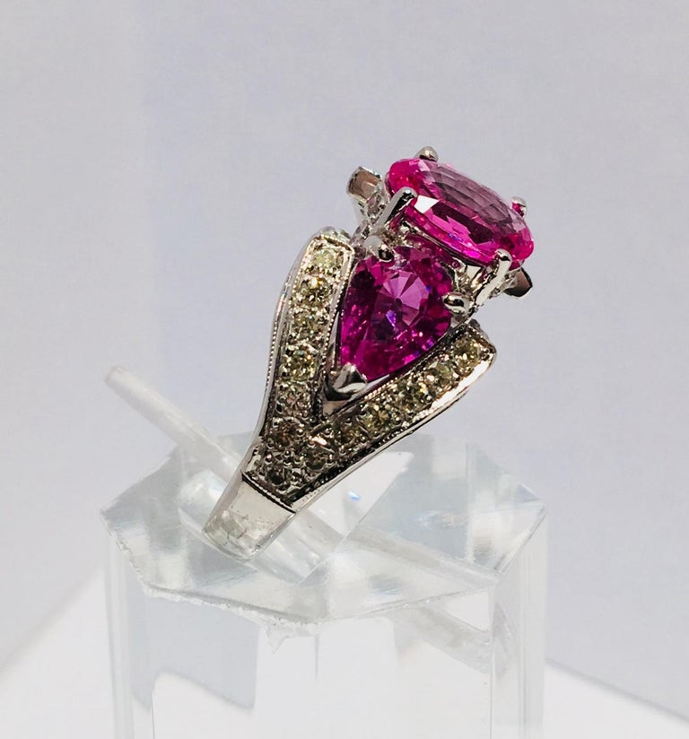Spectacular Vivid Pink Sapphire Diamond Platinum Three-Stone Ring For Sale 1