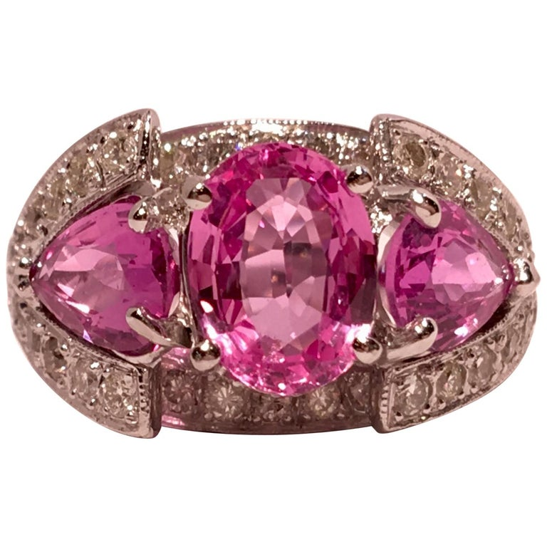 Spectacular Vivid Pink Sapphire Diamond Platinum Three-Stone Ring For Sale