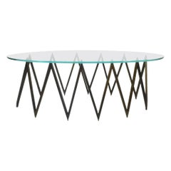 Spectacular Zig Zag Brass and Glass Coffee Table