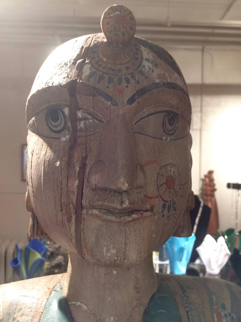 Spectacularly Impressive Pair of Handmade Indian Sculptures In Distressed Condition For Sale In Hopewell, NJ