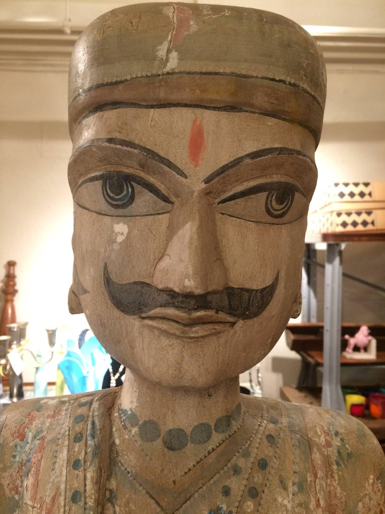 Early 20th Century Spectacularly Impressive Pair of Handmade Indian Sculptures For Sale