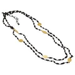 Spectrum Black Spinel Silver Necklace