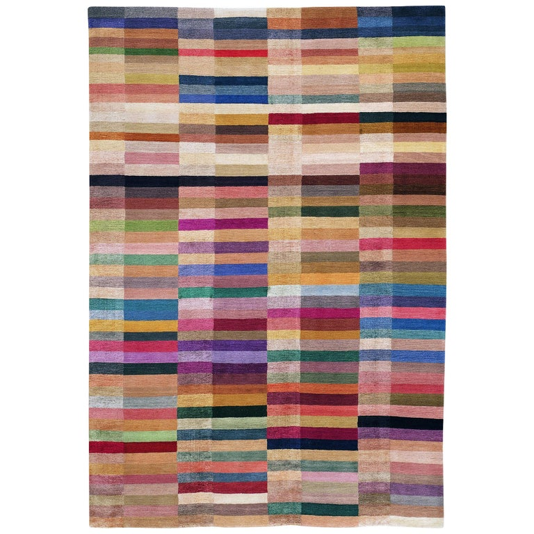 Spectrum Hand-Knotted 10x8 Rug in Wool and Silk by The Rug Company For Sale