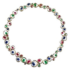 Spectrum of Colors Necklace with over 38 Carat of Precious Gemstones