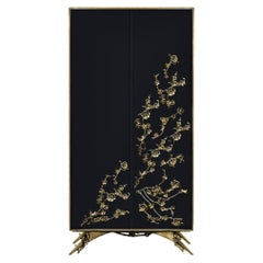 Spellbound Armoire in High Gloss Lacquer and Adorns in Metal Organic Lace