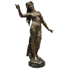 Spelter French Art Nouveau Woman Maiden Sculpture Statue Signed Auguste Moreau