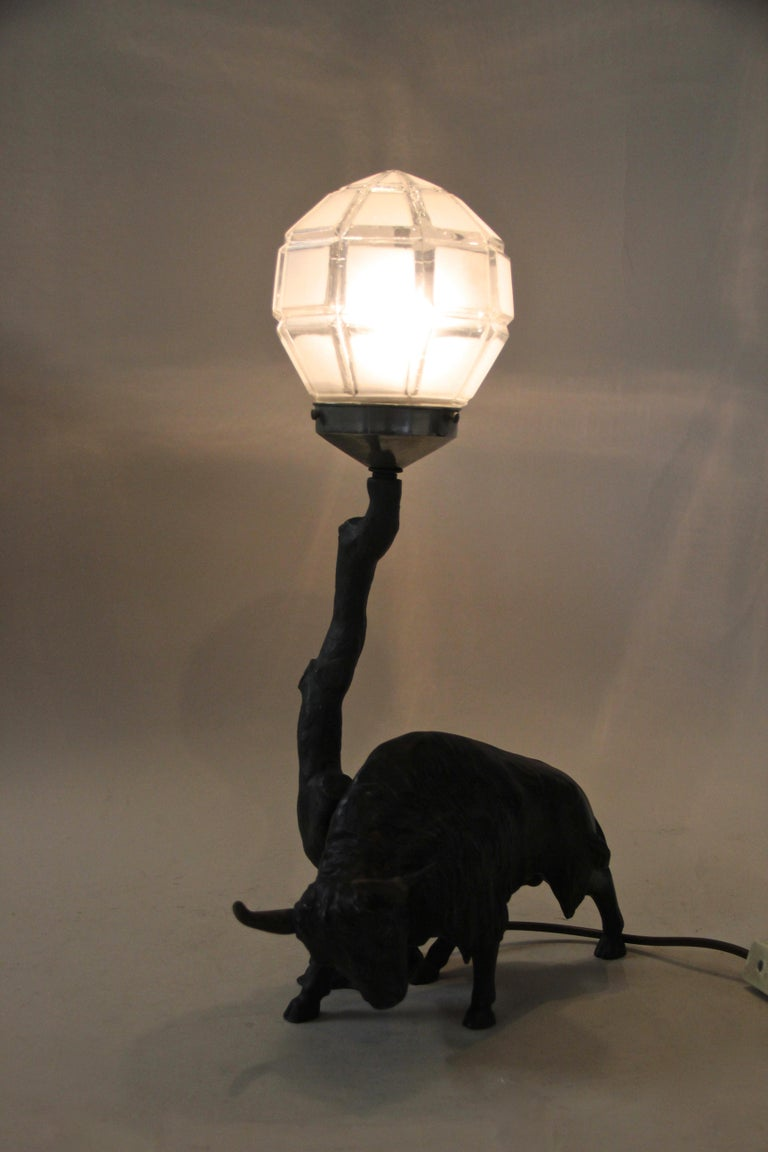 Spelter Table Lamp with North American Bison Art Nouveau, Austria, circa 1900 For Sale 6