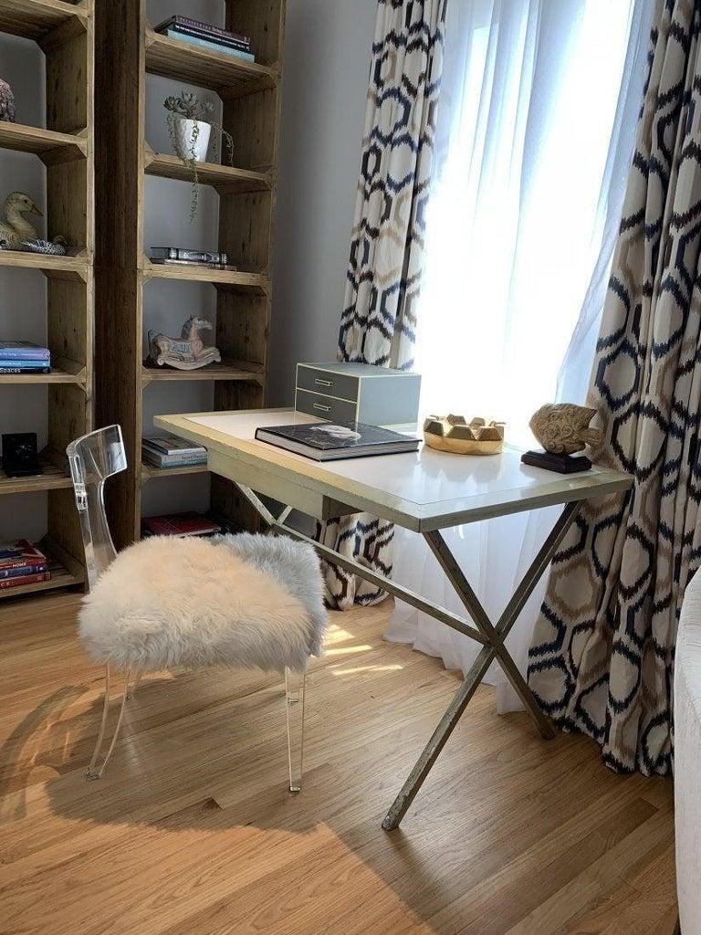Mid-Century Modern Spencer & Company Regency Desk with Silver Leaf Metal Base For Sale