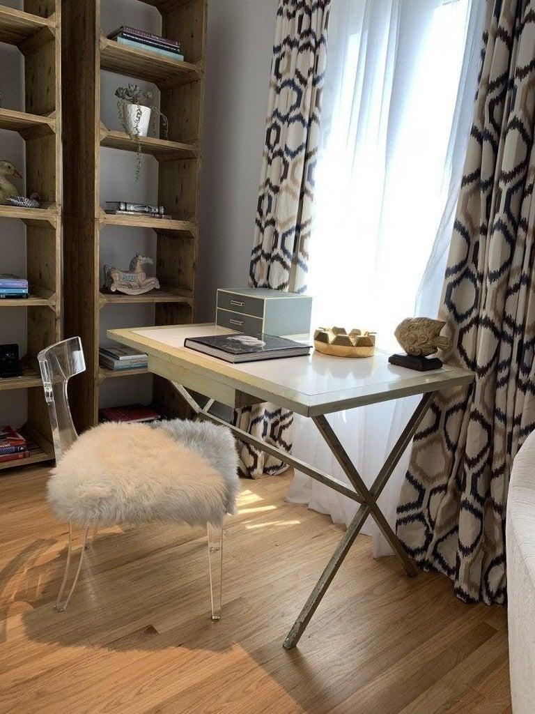 American Spencer & Company Regency Desk with Silver Leaf Metal Base For Sale