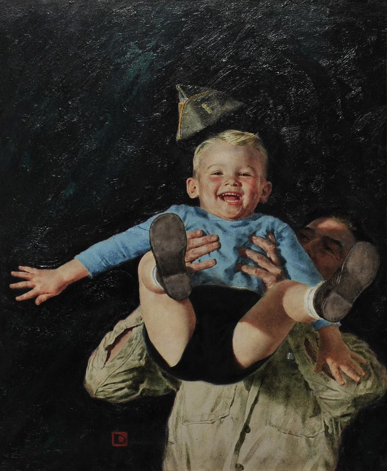 Spencer Douglass Crockwell Figurative Painting - Father and Son, Women's Day Magazine Cover, January 1945