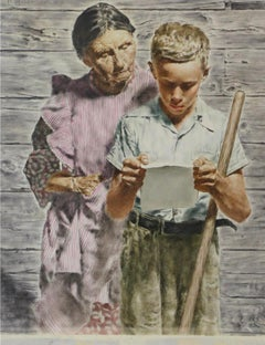 Grand Mother and Grand Son Read Emotional Letter - Like Norman Rockwell