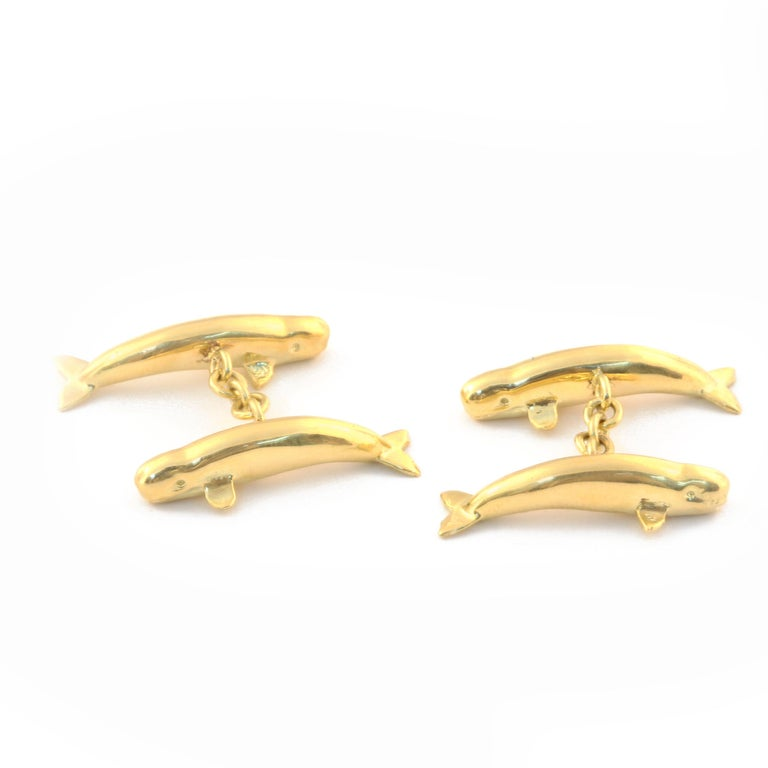 The substantial weight of these cuff-links is due to the lost wax casting process. Solid handmade chain links each pair of whales together. Fits French cuffs.    The Sperm Whale was most sought after during the whaling industry. The name sperm