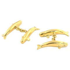 Sperm Whale Cufflinks in Solid 18 Karat Gold, Rose Gold, Sterling and Platinum