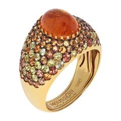Spessartine 1.00 Carat Yellow Orange Sapphires Yellow 18 Karat Gold Riviera Ring