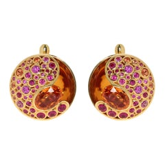 Spessartine 2.59 Carat Ruby Sapphire 18 Karat Yellow Gold Bubble Earrings