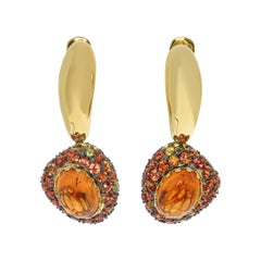 Spessartine 2.76 Carat Orange Sapphire Yellow 18 Karat Gold Riviera Earrings