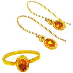 Spessartine Garnet 22 Karat Gold Ring and Dangle Earrings Set