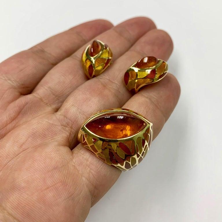 Spessartine Garnet 6.40 Carat Enamel 18 Karat Yellow Gold Earrings For Sale 2