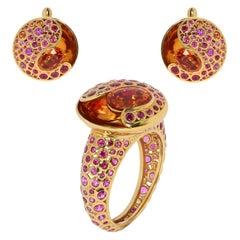 Spessartine Ruby Sapphire 18 Karat Yellow Gold Bubble Suite