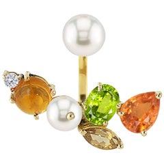 Ico & the Bird Spessartite, Morganite, Peridot, Diamond, Pearl 18k Gold Earring