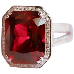 Spessartite Garnet 18 Karat White Gold and Diamond One of a Kind Ring