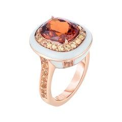 Spessartite Garnet and Ceramic Enamel Gold Cocktail Ring