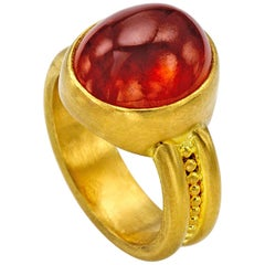 Spessartite Garnet Cabochon ring in 22 Karat gold
