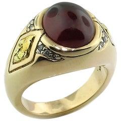 Spessartite Garnet, Diamond and Gold Nugget 14 Karat Men's Ring
