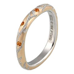 Spessartite Garnet in Rose Gold and Platinum Band by Zoltan David