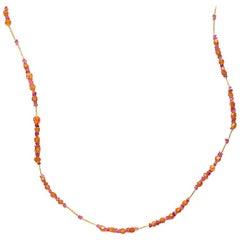 Susan Lister Locke Spessartite Garnet, Pink Tourmaline & 18 Karat Gold Necklace