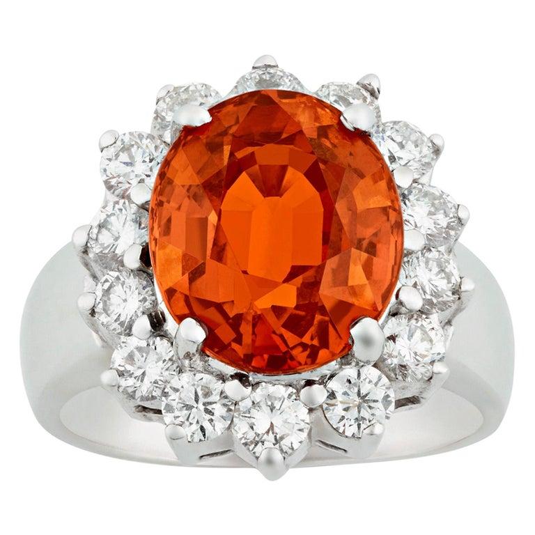 Spessartite Garnet Ring, 5.50 Carat For Sale