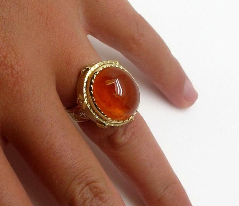 28.55 ct. Spessartite Garnet Cabochon, Diamond Yellow Gold Bezel Dome Ring For Sale 3