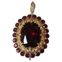 Spessartite Garnet with Diamond Brooch/Pendant in 18 Karat White Gold Settings