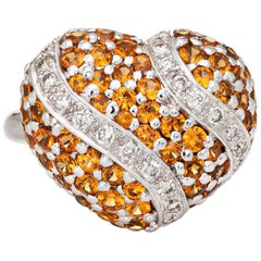 Spessartite Orange Garnet Diamond Heart Ring 18 Karat Gold Dome Cocktail Vintage