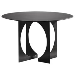 Art Deco Sphere Cut Out Table in Blackened Steel Finish